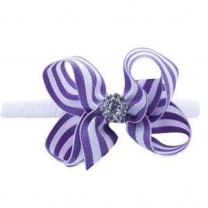 PurpleStripeJEWELBowHeadband